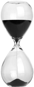 Photograph of an hourglass sand timer